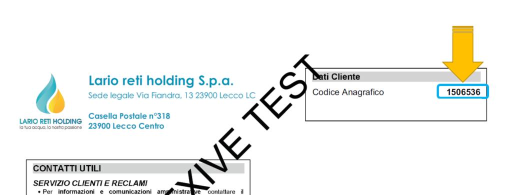Codice Anagrafico cliente sulla bolletta Lario Reti Holding
